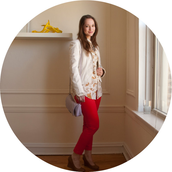 white jacket remix, j.crew factory winnie pants in vibrant flame, skinny red pants, wearing red pants to work, borrowing the boy's shirt, big shirts, theory white blazer, red and white, fish print, topman koi carp shirt, crop pants with wedges, ootd, how to wear, what to wear with