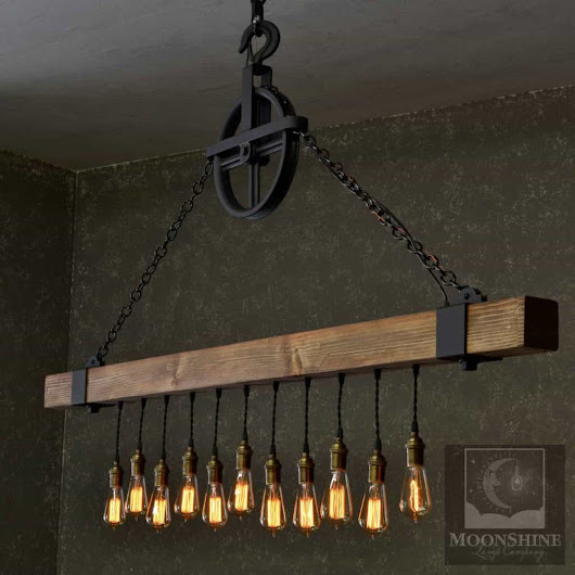 The dunsmuir wooden beam chandelier moonshine lamp company moonshine lamp company