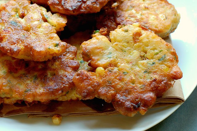 Savory Corn Cheddar Fritters by Eve Fox, Garden of Eating blog, copyright 2011