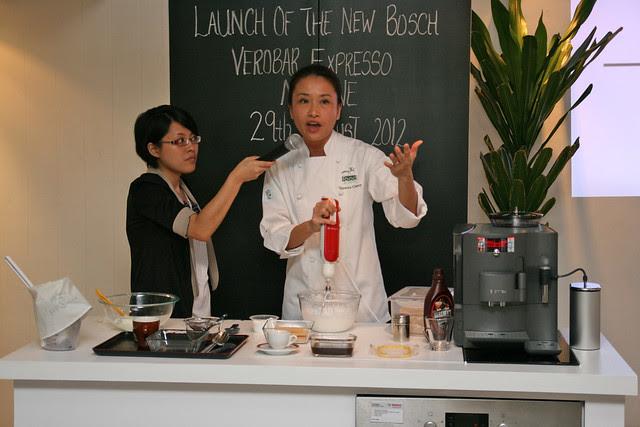 Chef Veronica Cherry showing us how to make eggless tiramisu