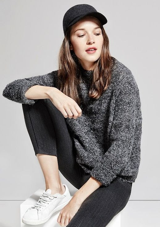 Le Fashion Blog Grey On Grey Fall Style Dark Grey Baseball Cap Melange Fuzzy Sweater Pin Stripe Trousers White Sneakers Via Mango
