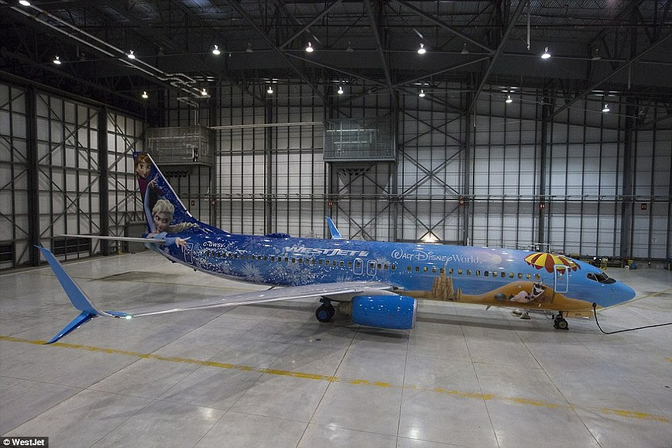 The aircraft - which took 600 litres of paint to complete - flies the Boeing 737's route, not just to Orlando