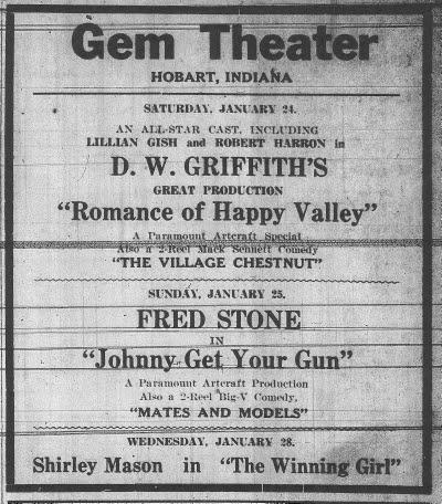 Gem Theater ad