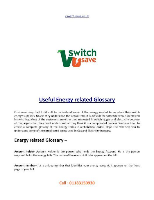 Useful Energy related Glossary