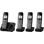 Panasonic - KX-TGE434B DECT 6.0 Expandable Cordless Phone System with Digital Answering System - Black