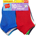 Hanes Boys' Toddler Low Cut 10-Pack Assorted 2T-3T