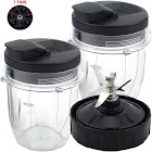2 Pack 12 oz Cup with Spout Lid and Extractor Blade (7-Fins) Replacement Part Compatible with Nutri Ninja Auto-iQ, Black