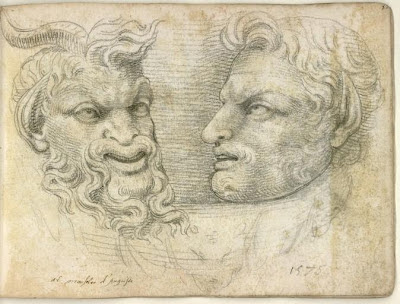 Pierre Jacques - sketch of man and animal heads from roman sculpture