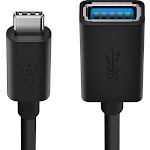 Belkin - USB 3.0 Type A-to-USB Type C Adapter - Black