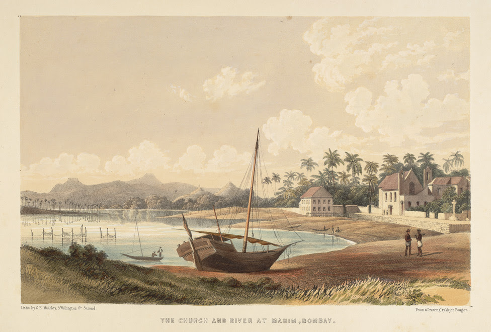 Image result for Mithi River In Mumbai and mahim church 1850