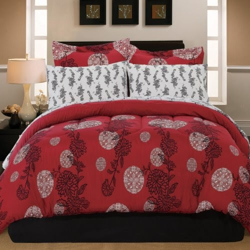cheap asian bedding sets 8pc red black asian blossom flower floral queen comforter set 8pc bed. Black Bedroom Furniture Sets. Home Design Ideas