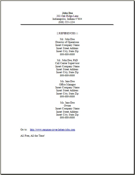 Resume Reference Page, Occupational:examples,samples Free edit with word