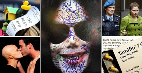 Clockwise from top left: A duck house hat on expenses, Michael Jackson tributes, Amanda Knox, Tamiflu, Jade and Jack