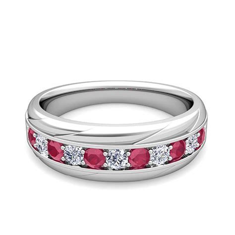 My Love Diamond and Ruby Mens Wedding Band Ring in 18k Gold