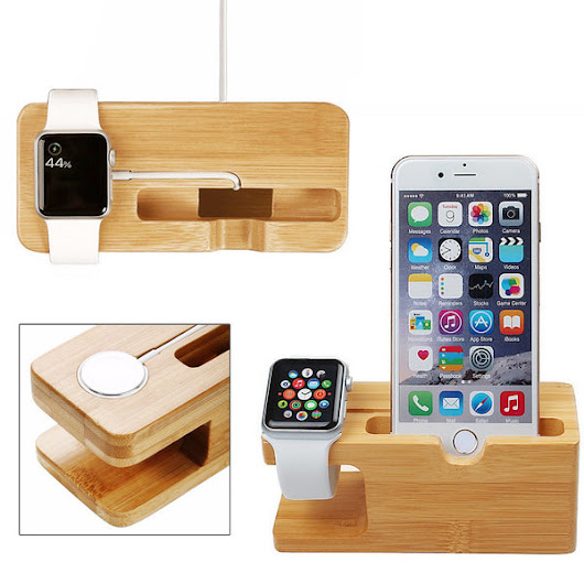 Bamboo Wood Stand for iPhone and Apple Watch