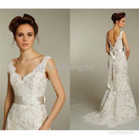Wholesale New Style Sexy V Neck Lace Long Wedding Dresses