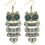 Fashion Alloy Yellow Gold-Tone Black CZ Drop Dangle Owl Statement Earrings, 2.70 inch, Girl's
