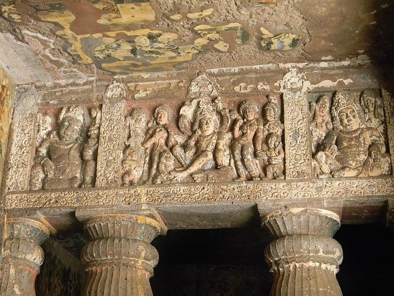 File:Engravings outside one of the caves in Ajanta.JPG