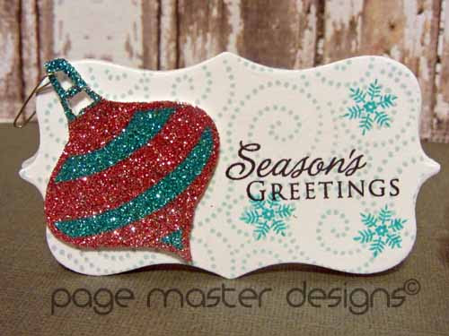 ornament card pink teal