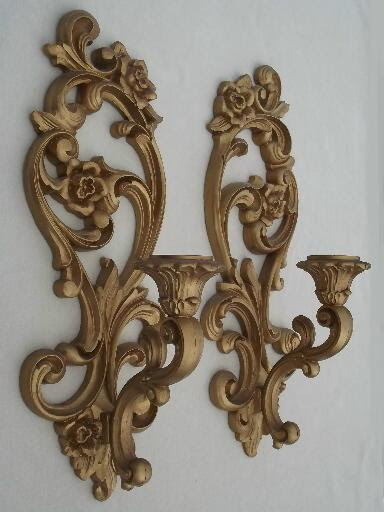 ornate gold wall sconces, vintage Homco candle holders ...