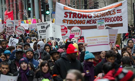 Rally against proposed public school closings in Chicago.