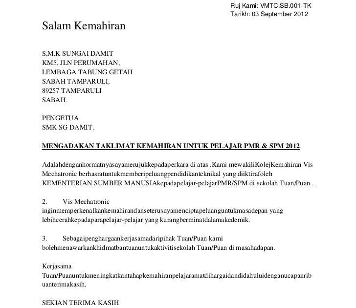 Surat Kiriman Tidak Rasmi In English - Surat Ras