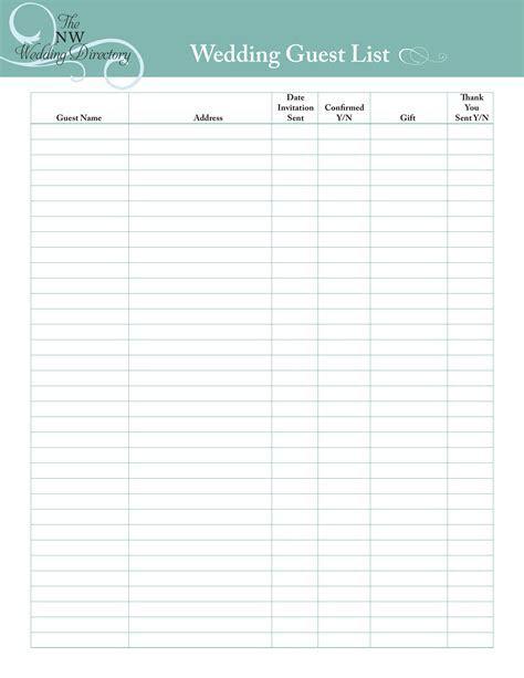 Wedding Guest List   Templates at allbusinesstemplates.com