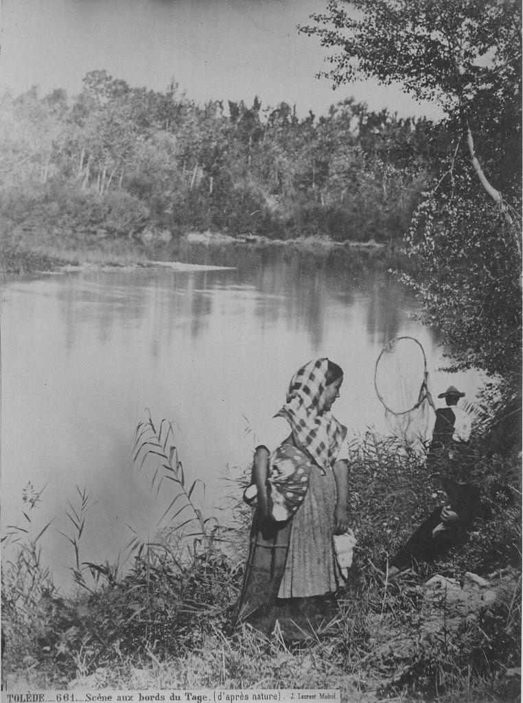 Pescadores en el Tajo hacia 1860. Fotografía de Jean Laurent