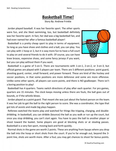 Reading Prehension Worksheet Basketball Time