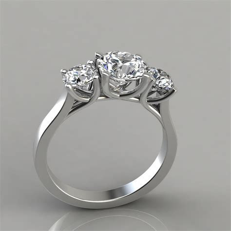 Three Stone Cross Prong Round Cut Engagement Ring