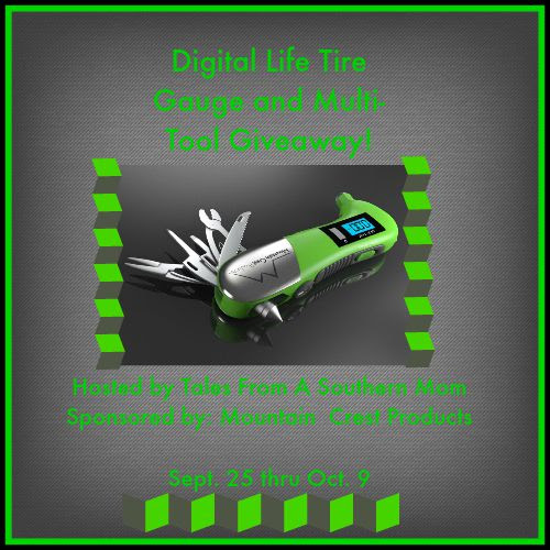 Enter the Digital Life Tire Gauge and Multi-Tool Giveaway. Ends 10/9