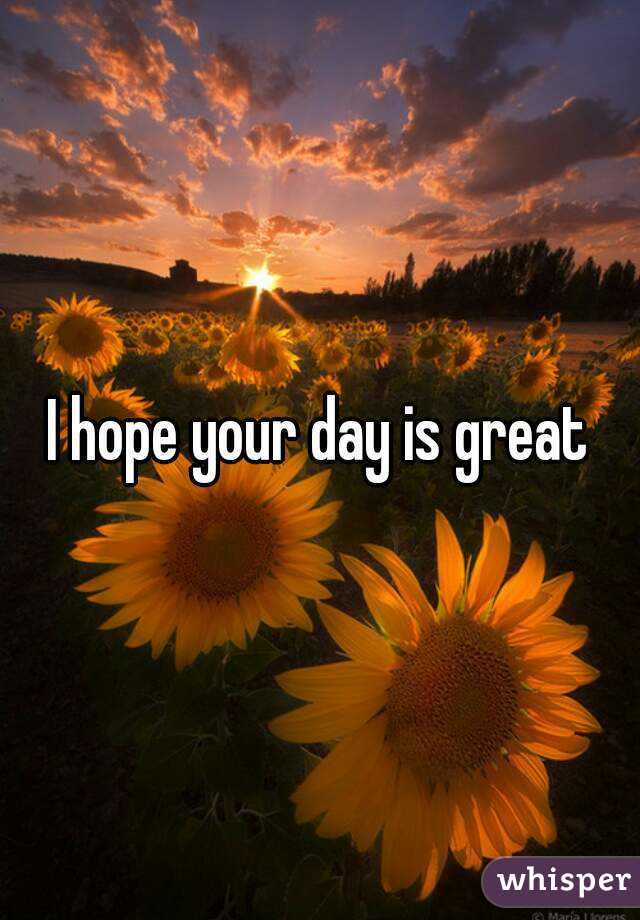 I Hope Your Day Is Great