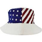 Luxury Divas White American Flag Print Reversible Bucket Hat