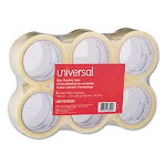 Universal Box Sealing Tape, 2 x 55 yards, 3 Core, Clear, 6/Box (UNV63000)