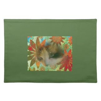 snowshoe sixties flower child kitty cloth place mat