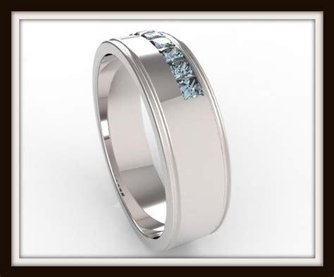 Mens Princess Cut Blue Topaz Wedding Band   Vidar Jewelry