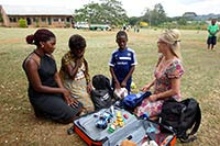 Tina Bjerke with her sponsor child Kelly at Equator School