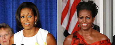 Michelle Obama; (L-R; Leslie E. Kossoff-Pool/Getty Images and Win McNamee/Getty Images)