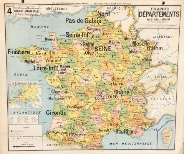 Ancienne Carte Scolaire école Vidal Lablache France Des