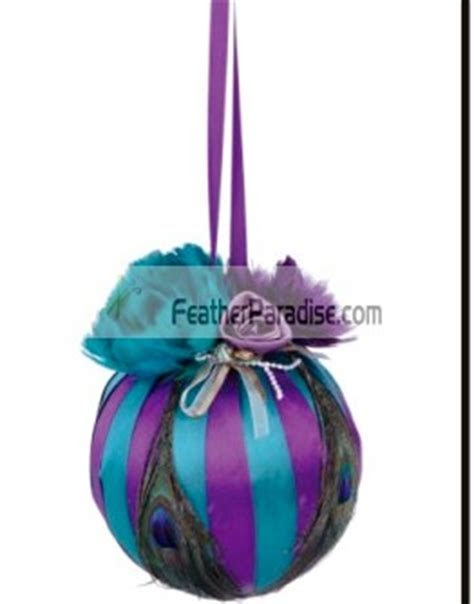 Purple Teal Peacock Feather Decorative Balls ornaments