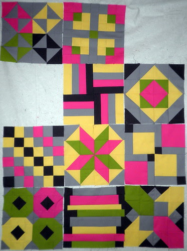 Blocks 1 though 8: Patchwork Squared Modern Solid's Quilt Along