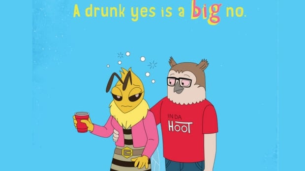 In the first part of the video, an anthropomorphized owl is seen taking a drunk bee upstairs. Luckily the owl's puffin friend interjects and sets his friend straight on consent.