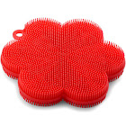 Norpro Red Flower-Shaped Silicone Dish Brush Scrubber, Size: Small