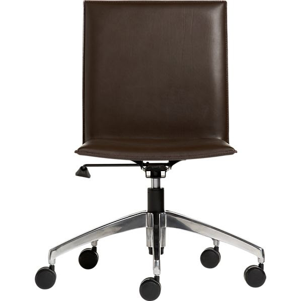 Folio Chocolate Leather Office Chair in Office Chairs   Crate and