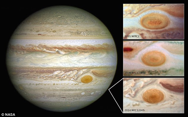 The most famous of Jupiter's storms is the Great Red Spot, seen here in the Southern Hemisphere of the planet. However, over the last two decades, it seems the storm is beginning to wane