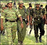 Colonel Karuna and his soldiers in eastern Sri Lanka.  Photo by Sriyantha Walpola