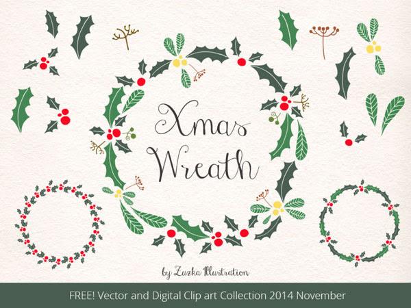 無料素材 クリスマスリースが作れる柊の葉や実の手書き風ベクターイラスト