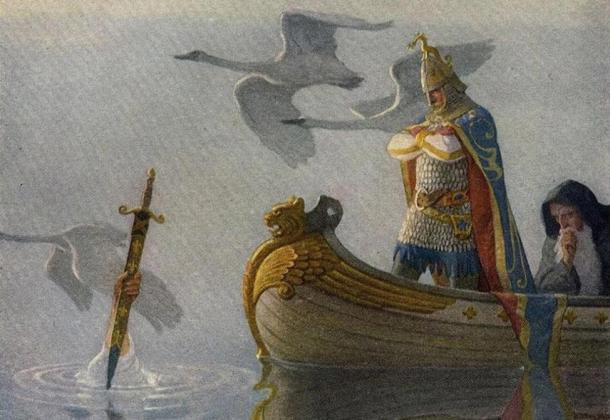 "The Legendary King Arthur: ""And when they came to the sword that the hand held, King Arthur took it up."""