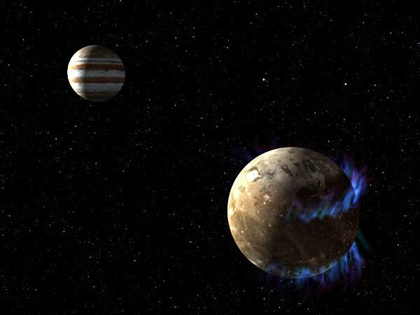 An artist's concept of aurorae being generated by Jupiter's moon Ganymede...which, like Europa, may harbor a large subsurface water ocean.