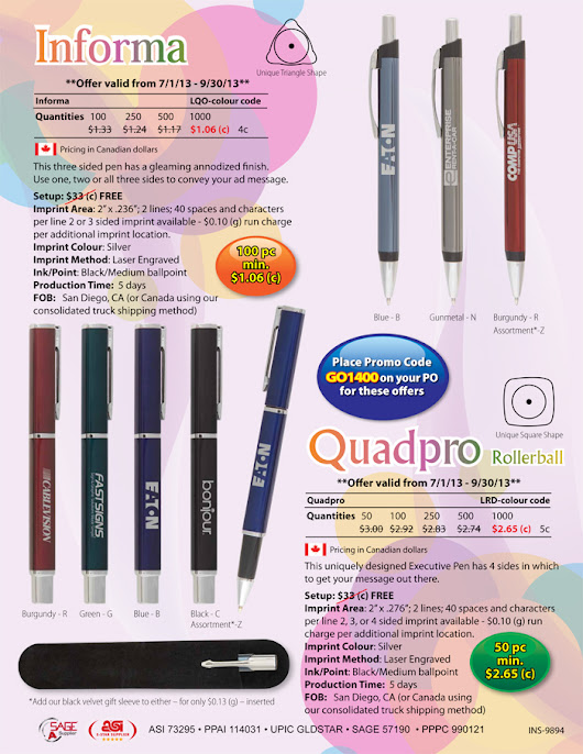 Promotional 3 or 4 Sided Pens | Novel Graphics Design Inc & Print House
